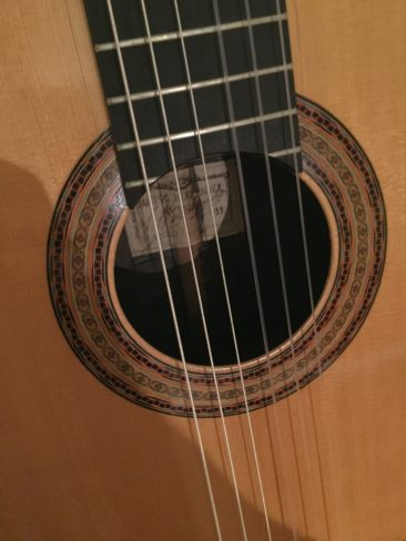 Santos Hernandez guitar, close-up.